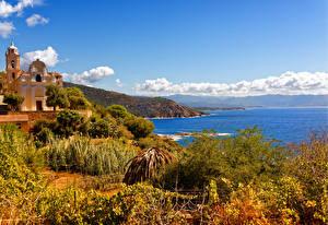 Картинка Франция Побережье Здания Кусты Corsica