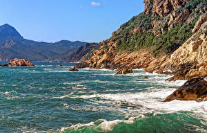 Обои Франция Побережье Волны Холмы Corsica Природа