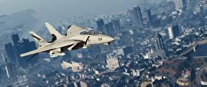 Обои ГТА 5 Истребители Самолеты Американские Grumman F-14D Super Tomcat Игры 3D_Графика Авиация