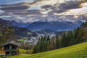 Фотографии Германия Горы Здания Небо Пейзаж Бавария Деревья Облака Природа