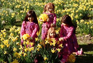 Обои Германия Парки Нарциссы Кукла Девочки Grugapark Essen Цветы