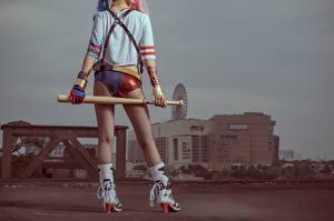Обои Харли Квинн герой Косплей Ноги Бейсбольная бита Девушки