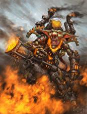 Обои Hearthstone: Heroes of Warcraft Воины Пламя Тролль Фэнтези