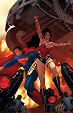 Фотографии Герои комиксов Чудо-женщина герой Супермен герой 2 Фантастика