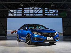 Картинки Honda Металлик Синий Седан 2016-17 Civic Sedan RS машины