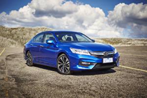 Картинка Honda Синий 2016 Accord V6 Sedan Автомобили