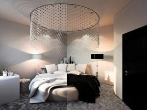 Фото Интерьер Дизайн Спальня Кровать 3D Графика
