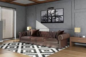 Фотография Интерьер Дизайна Гостиная Диване Ковер 3D Графика