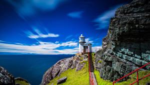 Обои Ирландия Маяки Море Небо Лестница Tooreen Cork