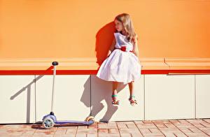 Обои Девочки Сидит Платье Дети картинки