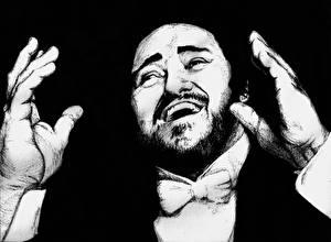 Фотографии Лучано Паваротти Мужчины Рисованные Черно белое Черный фон