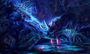 Картинки Волшебные животные Пруд Ночные by AlaxendrA Фантастика