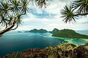 Картинка Малайзия Тропики Остров Залив Bohey Dulang Island Природа
