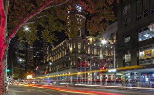 Фотографии Мельбурн Австралия Здания Дороги Вечер Улица Едущий Города