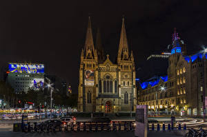 Обои Мельбурн Австралия Здания Храмы Ночь Города
