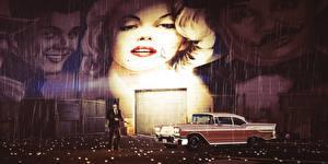 Обои Мужчины Дождь GTA 5 Marilyn Monroe Граффити компьютерная игра