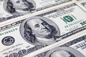 Фотография Деньги Банкноты Доллары Вблизи 100