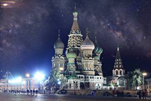 Картинка Москва Россия Собор Купол Ночь Saint Basil's Cathedral Города