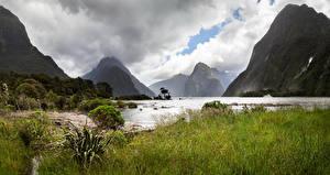 Фото Новая Зеландия Парк Гора Озеро Облако Трава Milford Sound Fiordland National Park Природа
