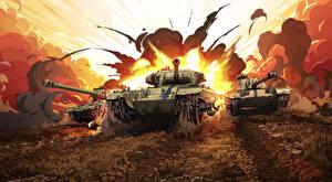 Фотография Танки Рисованные Взрывы World of Tanks Русские Британский Американские компьютерная игра