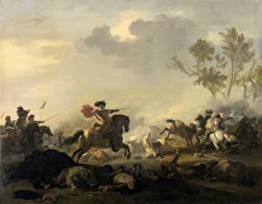 Фотография Живопись Сражения Лошади Jan van Huchtenburg, Cavalry Attack