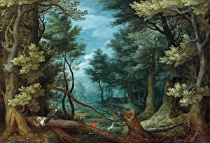 Фотография Картина Деревья Jan Brueghel The Elder, A forest landscape with hunters giving chase to a stag