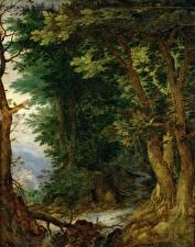 Обои Картина Деревья Jan Brueghel The Elder, Forest Landscape