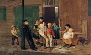 Фотографии Картина Мальчики Девочки John George Brown, The Bully of the Neighbourhood