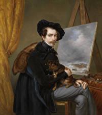 Фотографии Картина Мужчины Собаки Johan Hendrik Louis Meijer, Self-portrait