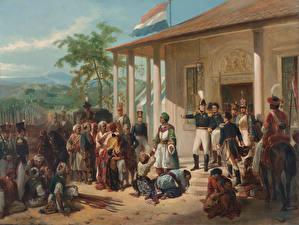 Фотографии Картина Мужчины Nicolaas Pieneman, The Submission of Prince Dipo Negoro to General De Kock