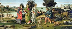 Обои Картина Sandro Botticelli, Judgement of Paris