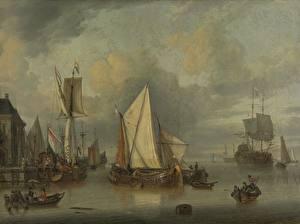 Фотографии Картина Корабли Парусные Jan Claesz Rietschoof, A Calm (Ships in the Harbor by Calm Weather)