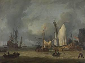 Фотографии Живопись Корабли Парусные Jan Claesz Rietschoof, A Storm (Ships in the Harbor in a Stiff Breeze)