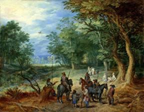 Фото Картина Солдаты Лошади Деревья Jan Brueghel the Elder, Guards in a Forest Clearing