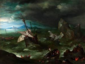 Фотографии Картина Волны Корабли Парусные Ветер Jan Brueghel The Elder, A Sea Storm