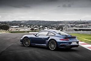 Картинки Порше Синий Купе 911 Turbo S Авто