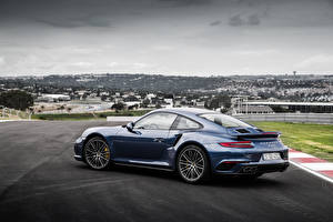 Картинки Porsche Синих Купе 911 Turbo S Автомобили