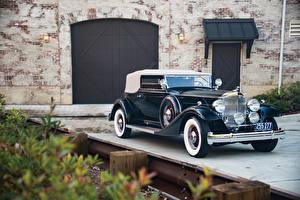 Картинки Винтаж Металлик 1933 Packard Twelve Convertible Victoria Авто