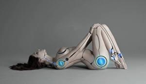 Обои Робот Серый фон Фантастика Девушки