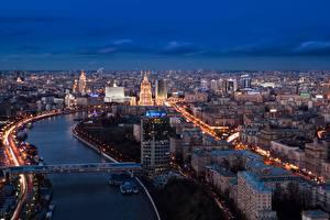 Фотографии Россия Москва Речка Мосты Мегаполис