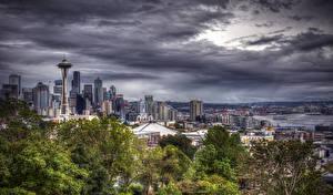 Фотографии Сиэтл Штаты Дома Небо Вечер HDRI город
