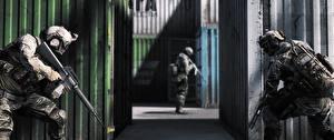 Обои Солдаты Автоматы Battlefield 4 Втроем Американские 3D_Графика