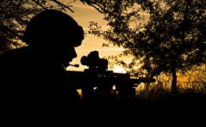 Обои Солдаты Автоматы Силуэт военные