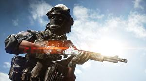 Обои Солдаты Винтовки Маски Battlefield 4 Американские Игры 3D_Графика