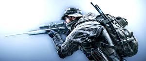 Картинки Солдаты Снайперская винтовка Battlefield 4 Снайперы Шляпа Американские US Recon Игры 3D_Графика