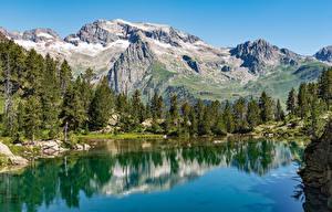 Фотографии Испания Горы Озеро Пейзаж Ель Benasque Aragon Природа