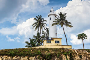 Картинка Шри-Ланка Маяки Небо Пальмы Galle