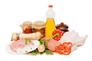 Картинка Натюрморт Перец Лук репчатый Мясные продукты Белым фоном Бутылка Банка Еда