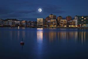 Фотографии Стокгольм Здания Реки Швеция Ночные Луна