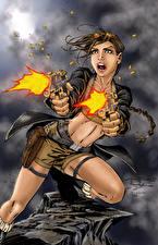 Фото Tomb Raider 0013 Пистолеты Лара Крофт Выстрел Игры Девушки